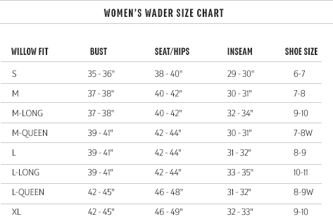 Redington Women's Wader Size Chart Willow Fit