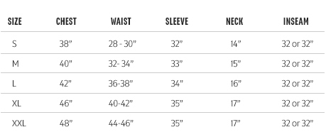 Redington Men's Apparel Sizing Chart